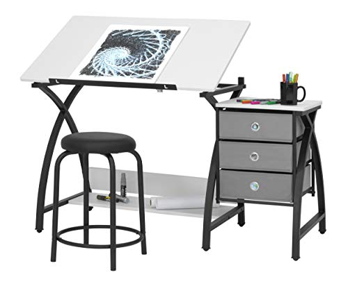 SD Studio Designs 13326 Comet Center with Stool, Black/White, 50