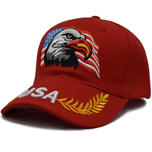 MAGA Hat Make America Great Again Donald Trump Slogan with USA Flag Cap Adjustable Baseball Hat All Cotton Made Unisex (Red Eagle) (Eagles Race)
