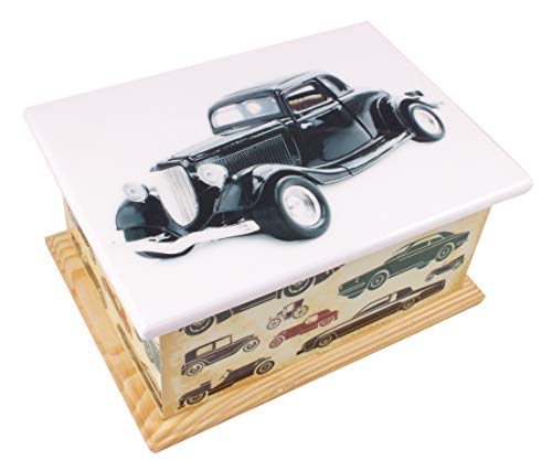 Vintage Urn - Wood Cremation Ashes Casket Urn, MDF and Teakwood Urn, Funeral Memorial Remembrance Urn (Vintage Car)
