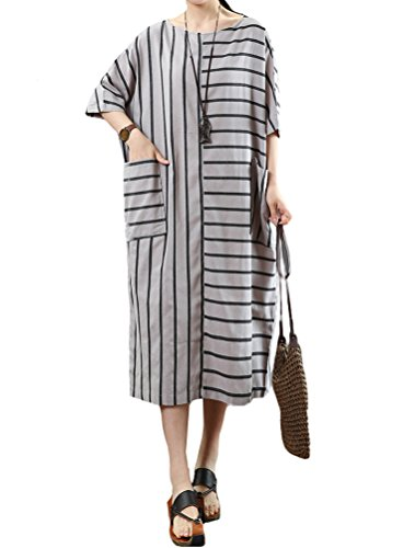 Stripe Kimono Dress - Mordenmiss Women's Linen Cotton Stripe Dress Summer Long Blouses with Pockets XL Gray