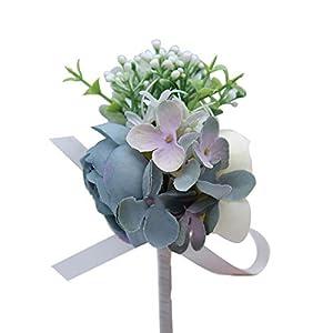 Cupcinu Peony Corsage Bracelet and Boutonniere Set Handmade Decoration Bouquets Rhinestone Ribbon Flower Wedding Bouquet Prom Ivory 1Pcs 116