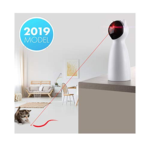 Yvelife Cat Laser Toy Automatic,Interactive Toy for Kitten/Dogs - USB Charging,Placing Hign,5 Random Pattern,Automatic On/Off and Silent (P01) (Play Laser)