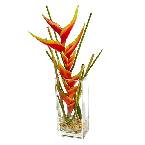 Heliconia Tropical Flower - Nearly Natural 1742 Mini Heliconia Artificial Silk Arrangements Orange