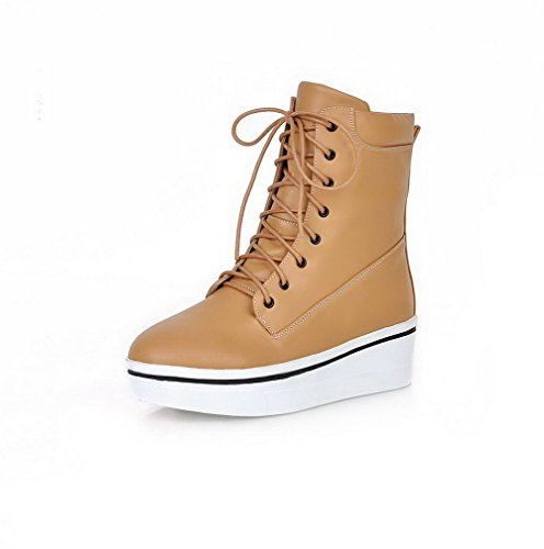Toe Low High Closed Heels top up Boots Round Material Women's AgooLar Lace Apricot Soft HwqgFP1
