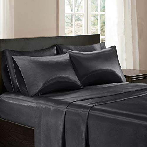 Todd Linens Sexy Satin Sheets 6 Pcs Queen/King Bedding Set 1 Duvet Cover + 1 Fitted Sheet + 4 Pillow Cases (Many Colors) Black Queen - 4 Silk Piece Bedding