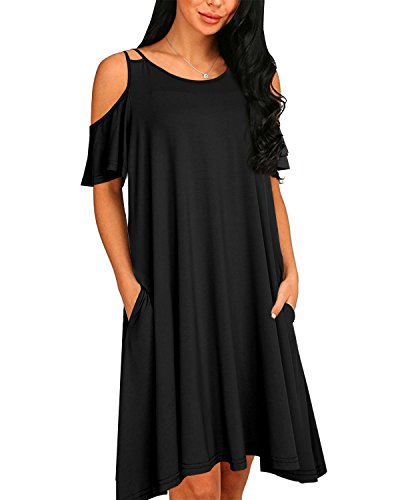 Aliling Womens Cold Shoulder Dresses Casual Pleated Swing Pocket Tunic T-Shirt Dress
