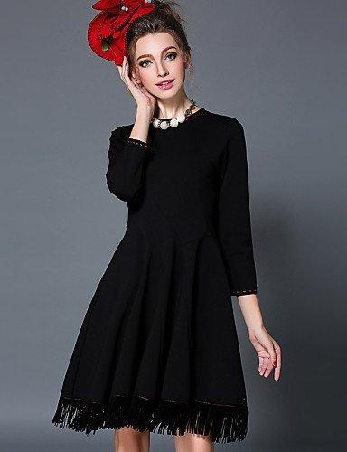 GSP-Damen Kleid - Übergrößen Übergröße / Leger Solide Knielang Baumwolle / Nylon / Elasthan Rundhalsausschnitt