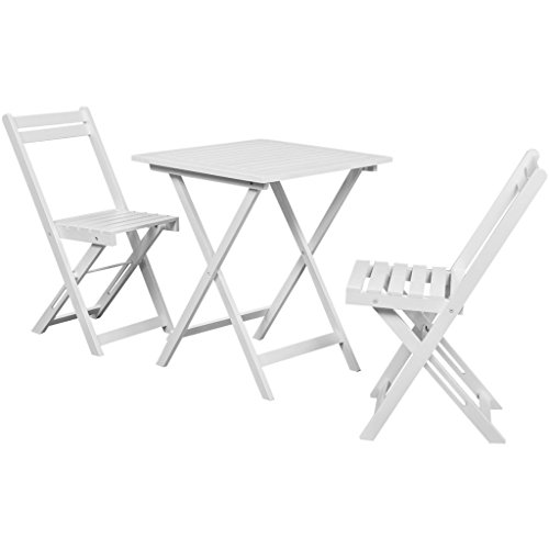 Festnight 3 Piece Outdoor Patio Bistro Set Home Balcony Set with 2 Folding Chairs, White Acacia Wood