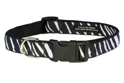 Sassy Dog Wear 13-20-Inch Black/White Zebra Dog Collar, Medium