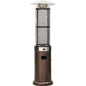 Cambridge 6 Ft. 34,000 BTU Cylinder Patio Heater with Glass Flame Display in Bronze