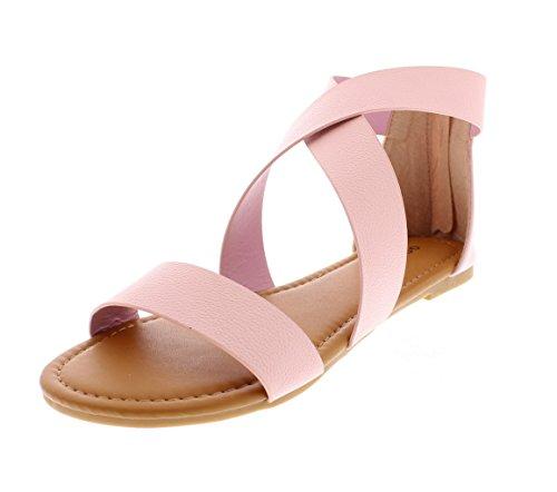 Gold Toe Women's Celine Vegan Open Toe Flat Gladiator Sandal with Criss-Cross Ankle Wrap Strap & Back Zip Blush 7