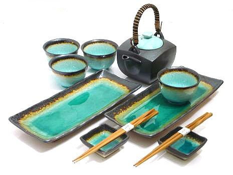 MySushiSet - 11 piece Ocean Breeze Sushi and Tea Set by MySushiSet.com