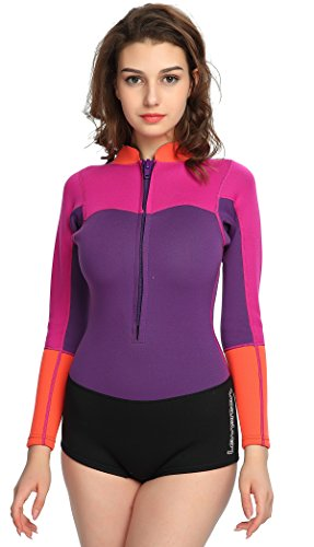 2 Mm Shorty Wetsuit (Lemorecn Wetsuits Women Premium Neoprene Diving Suits 2mm Shorty Wetsuit(3094P14))