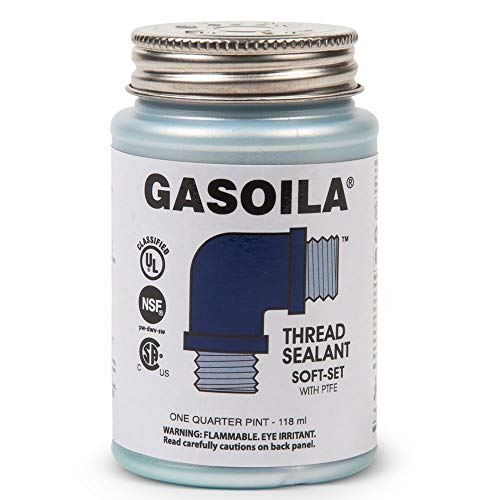 Gasoila Soft-Set Pipe Thread Sealant with PTFE Paste, Non Toxic, -100 to 600 Degree F, 1/4 Pint Brush (Best Thread Sealant For Water Pipe)