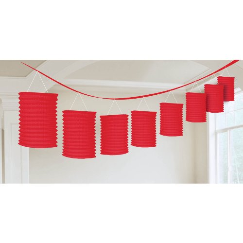 Accordion Style Paper Lantern Garlands | Apple Red | Party Decor