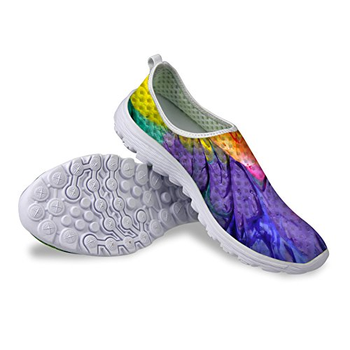 HUGSIDEA Women's Casual Graffiti Flat Walking Sports Mesh Shoes US7