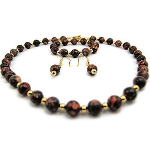Natural Leopardskin Necklace/Bracelet/Earring set