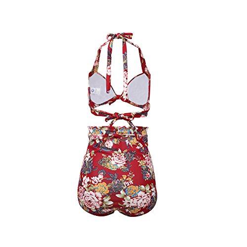 Icegrey - Tankini - Floral - para mujer Weinrot mit Blumen gedruckt