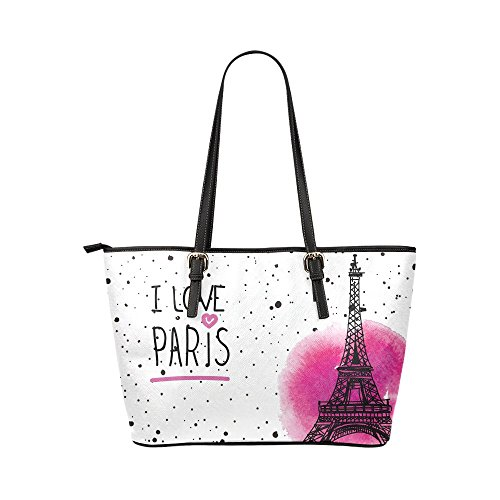 InterestPrint Fashion I Love Paris Eiffel Tower France Women's Leather Handbags Ladies Shoulder Bag Tote Bags by InterestPrint (Image #1)