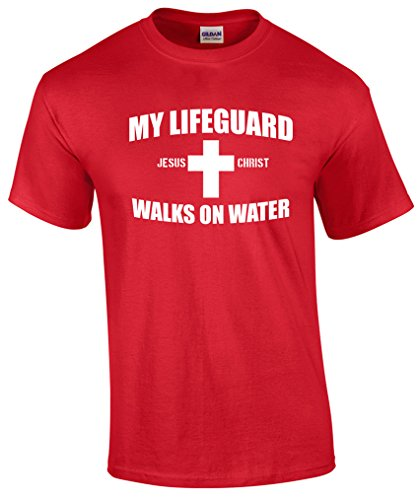 My Lifeguard Walks On Water Christian T-Shirt-Red-Large