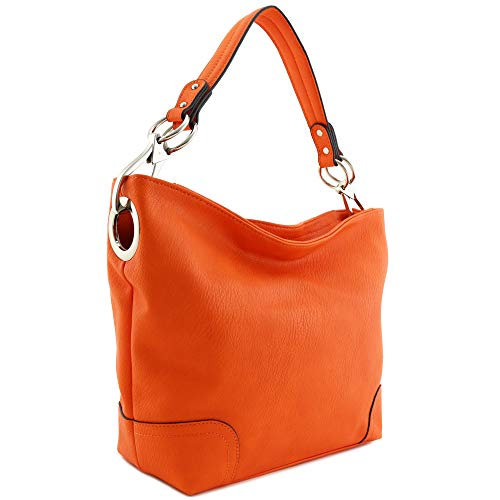 Hobo Shoulder Bag with Big Snap Hook Hardware (Orange) ()