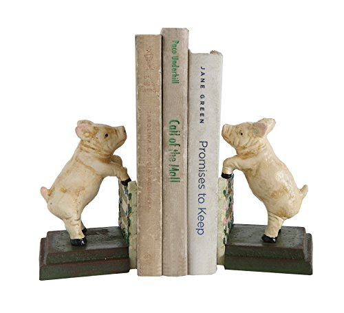 Creative Co-op Hand Painted Pig Shaped Cast Iron Bookends (Set of 2 Pieces)