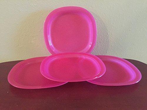 Tupperware Microwave Reheatable Luncheon/Desert Plates in Fuchsia Kiss