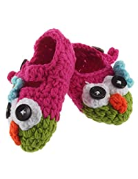 Formulaone Cute Handmade Newborn Baby Infant Crochet Knit Owl Shoes Booties Photograph Gift