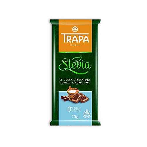 Trapa Chocolates Stevia Milk Chocolate Bar, 75 grams (Pack of 35)