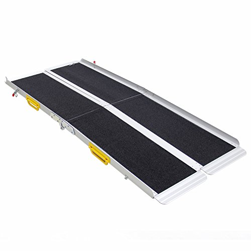 Ruedamann 6' Aluminum Portable Two Pieces Separated Folding Mobility Wheelchair Ramp MR607T-6 (6 Feet)