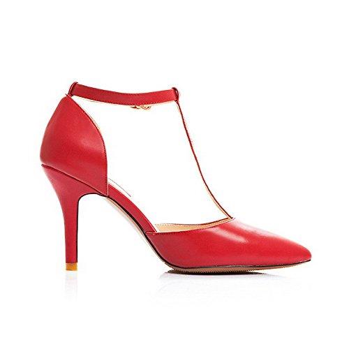 Allhqfashion Donna Materiale Morbido A Punta Chiusa Sandali Fibbia Solido Rosso