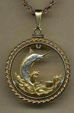 "Bahamas 50 Cent Blue Marlin Two Tone Coin Cut Out Pendant with 24"" Chain and Rope Bezel"