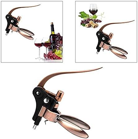 FLAMEER Destapador de Botellas de Vino sacacorchos Ahorro de Mano de Obra Extractor de Botellas de Vino Herramienta de eliminación Regalo de Bienvenida - de Bronce
