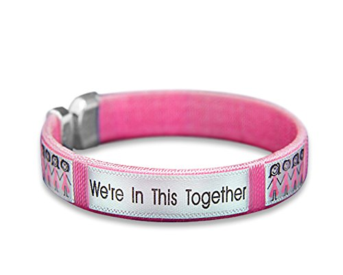 25 Pack Breast Cancer Awareness Together Pink Ribbon Bangle Bracelets (25 Bracelets in a Bag)