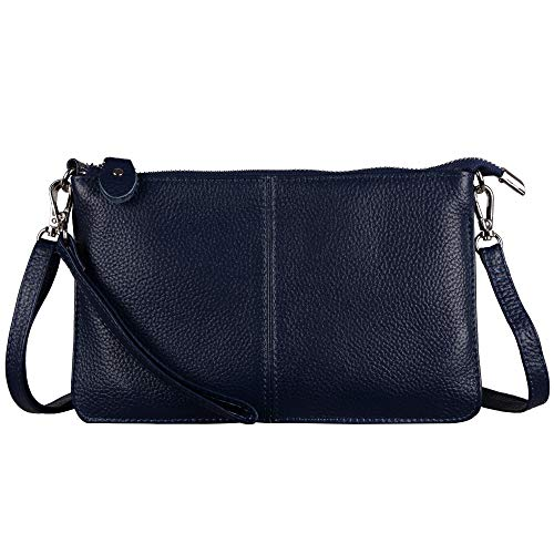 Befen Women's Soft Leather Smartphone Wristlet Crossbody Wallet Clutch with Crossbody Strap/Wrist Strap - Navy Blue - One Leather Shoulder Handbag