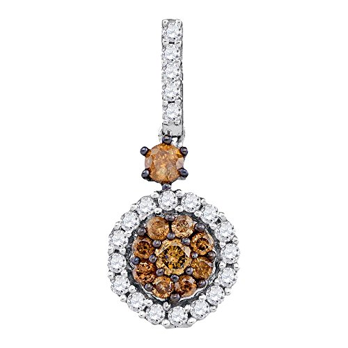 Sonia Jewels 14k White Gold Round Chocolate Brown Diamond Cluster Pendant (1/2 Cttw) (Pendant Diamond Chocolate)