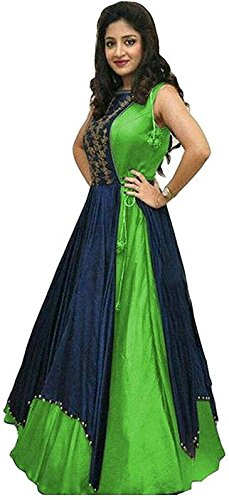 027c900385 Moradiya Creation Silk Embroidered, Self Design Semi-stitched Gown (Green)