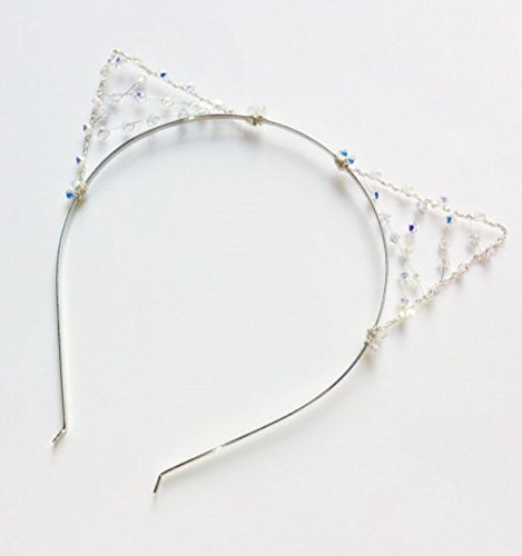 Element Costume Ideas (Meshed Crystal Cat Ears Headband, Silver Wire Kitty Cat Ears With Swarovski Elements, Halloween Costume Ears)