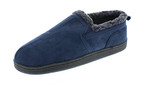 Gold Toe Men's Norman Memory Foam Slip-On Microsuede Sherpa Lined Casual Slipper Loafer Shoe Navy M 9-10 US