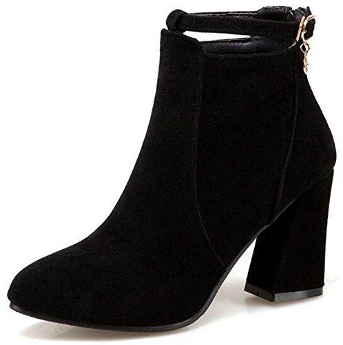 Idifu Donna Sexy Scarpe A Punta Tacco Grosso In Finta Pelle Scamosciata Ankle Boots Indietro Stivaletti Con Cerniera Con Pendente Nero