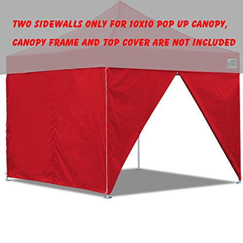 Two Sidewalls for 10 x 10 Pop up Canopy Tent Side Walls Kit Zipper End (2 walls only) (Red)