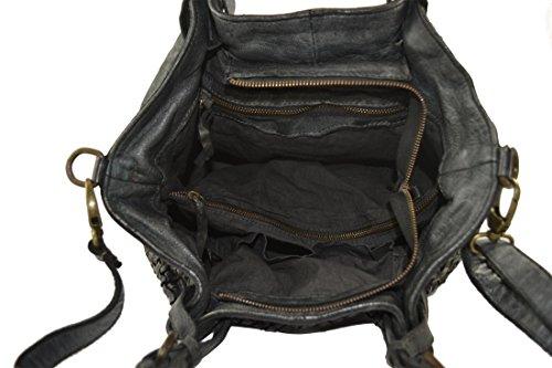 Nero O Borsa Granada Intrecciata Made Italy Vera Modello A Pelle Vintage Mano Spalla Superflybags In MVpSUz