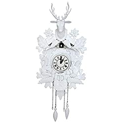 MHGLOVES Black Forest Cuckoo Clock, Vintage Look Cuckoo Clock Wall Art Home Living Room Kitchen Office Décor Restaurant Cafe Hotel Decoration, Engraving Pattern (7042Cm),A