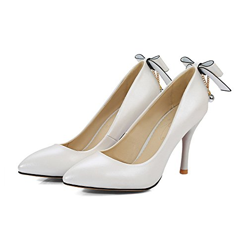 Solid On Pointed Closed Pull Heels Toe White AllhqFashion Shoes Women's High Pumps ZnqXSSFp