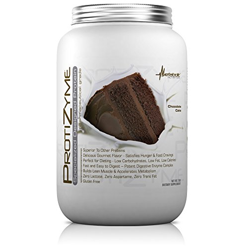 Metabolic Nutrition, Protizyme, 100% Whey Protein Powder, High Protein, Low Carb, Low Fat Whey Protein, Digestive Enzymes, 24 Essential Vitamins and Minerals, Chocolate Cake, 2 Pound (26 ser)