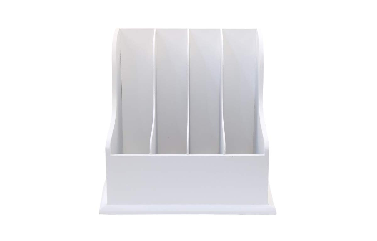 Wooden Vertical Desktop Organizer – Four Compartment White File, Document and Magazine Holder – for Home and Office for Easy Storage – by Designstyles