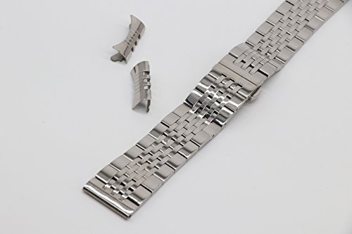 19mm Curved Connection Silver Business Watch Belt Solid 304 Stainless Steel Watch Strap Deployant Clasp by autulet (Image #3)