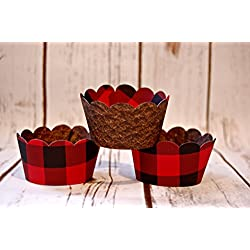 12 Count Reversible Cupcake Wrapper Buffalo Plaid Lumberjack and Rustic Brown