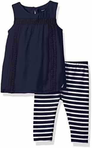 Nautica Girls' Chiffon Top with Stripe Legging Set