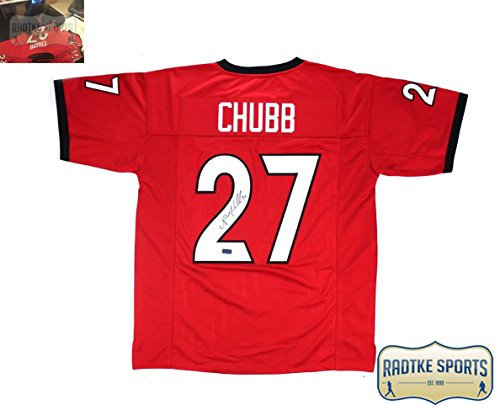 Nick Chubb Autographed/Signed Georgia Bulldogs NCAA Custom Red Jersey
